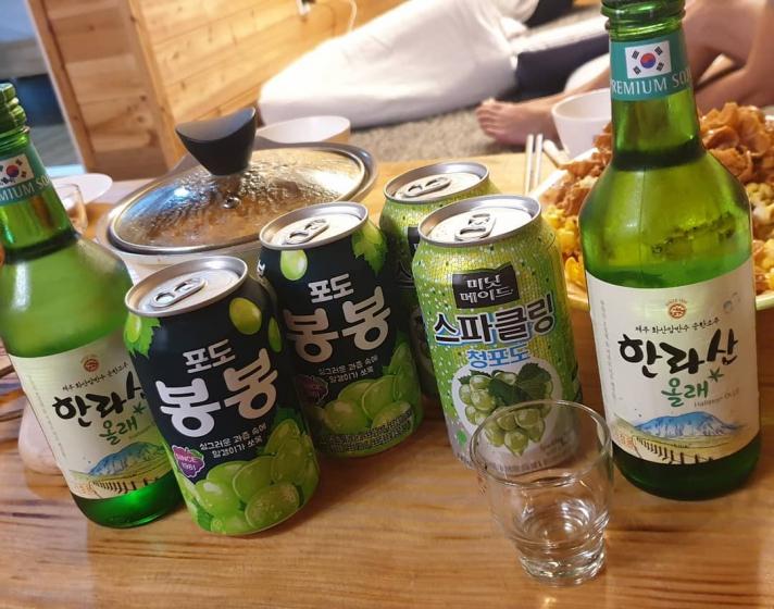 韓国焼酎(소주/ソジュ)の飲み方 画像 スパークリングボンボン酒