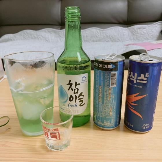 韓国焼酎(소주/ソジュ)の飲み方 画像  エナジャイザー酒